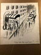 Rare Original Signed Published Comic Art New Yorker Barney Tobey Voting Audience