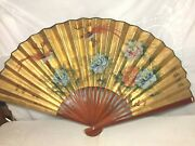 Antique Large Hand Painted Chinese Fan Wall Hanging Floral Birds Signed Stamped