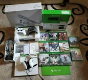 Microsoft Xbox One S 500gb White Console W/ 11 Games + Controllers + All Cables