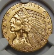1909-d Ngc Ms64 5 Indian Head Gold
