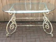 Antique Iron And Glass French Table 50 X 32