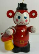 Vintage 2.75 In Mouse With Lunch Bucket Wooden Christmas Tree Ornament