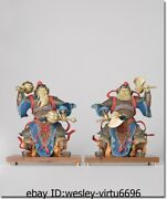 Old Pure Brass Copper Hand Painting Feng Shui Guard Door-god Buddha Statue Pair