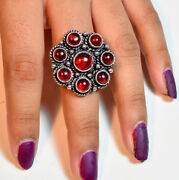 Fashion Collection 925 Silver Plated Garnet Handmade Ring Rc1725