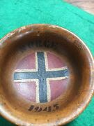 Ww2 Small Norwegian Hitler Youth Wooden Bowl