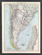 Large Antique Map Of South America And Chile C1906 Original With Litho Colour