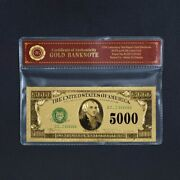 1918 5000 Dollar Banknote Collectible 24k Gold Plated With Bag And Certificate