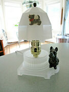 30s Vtg Art Deco Houze Scottie Dog Lamp W/ White Satin Glass Shade - Night Light