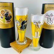 2 Vintage 1997 And 1998 Ritzenhoff Beer Glasses 22655 And 23144 Plus Coasters, Cases