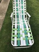 Vintage Aluminum Folding Retro Webbed Chaise Lounge Chair With Some New Webbing