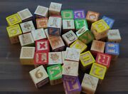 Classic Color Children's Wooden Wood Building Blocks Lot Letter Numbers Animals