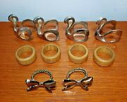Lot Of 10 Napkin Rings 4 Silver Swans 4 Brown Wood 2 Silver Metal Bows Holiday