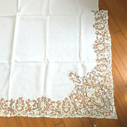 Old Antique French Tambour Embroidery Net Lace Large Sheet And Pillowcases