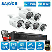 Sannce 5mp 8ch Nvr Hd 1080p Poe Security Camera System Audio Recording Home 1tb