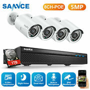 Sannce 5mp 8ch Nvr Poe Home Security System 4x 5mp Ip Camera Audio Recording 1tb