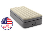 Inflatable Air Bed Mattress Twin Size Built-in Pump With Bag Gray 300 Pounds New
