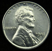 1943 D Uncirculated Lincoln Steel Wheat Cent Penny Bu C01