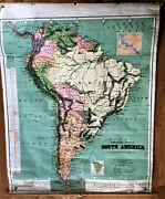 Antique 1901 Canvas School House Pull Down Map Of South America Free Shipping