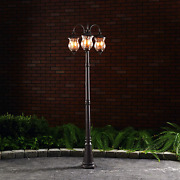 Classic Triple Head Street Light Lamp Pole Clear Glass For Pathway Garden Patio