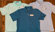 Lot Of 3 Nwt Southern Tide Polo Shirts Striped Green/blue/teal/white Size Xl