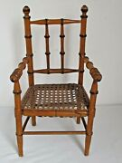 Antique French Faux Bamboo Cane Seat Doll Arm Chair C. 1900