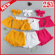 Girls Clothes Sets 3pcs Solid Off Shoulder Flare Sleeve Pullover Strap Tshirts