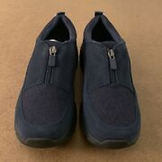 Lands End Women's Size 8h Navy All Weather Insulated Suede Leather Zip Moc Shoes