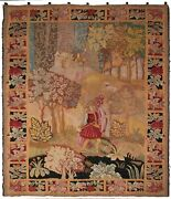 Rare Antique French Tapestry Pictorial Large Tapestry Verdure 5x6 153cm X 204cm