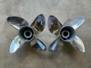 Pair Of 4 Blade 15 X 20p Evinrude Johnson Brp Ss Propellers Tbx P5199 P5200