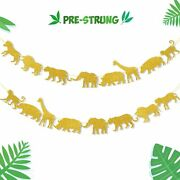 Gold Jungle Safari Animal Banner Zoo Garland Baby Shower Boys Girls Birthday...