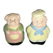 Vintage Mini Ceramic Anthropomorphic Pig Chef And Cook Salt And Pepper Shakers