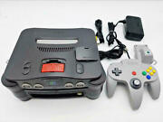 Nintendo 64 Dd Video Home Game Main Unit Controller Black Silver Grey Used