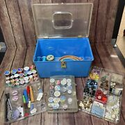 Vintage Wilson Blue Sewing Box Case W/ 2 Trays 40+ Thread 100+ Buttons 9 Pounds