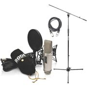 Rode Nt2-a Card. Condenser Mic Studio Bundle W/ Mic Stand W/boom And Xlr Cable New