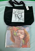 New James Jean Lory Menandrsquos White Tee Shirt And Tote Bag Size Small
