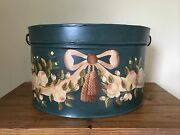Vintage Toleware Hand Painted Floral Tin Double Hinged Tinware Box Large 17andrdquox14andrdquo