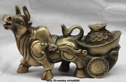 China Copper Bronze Yuanbao Wealth Money Ox-drawn Cart Cow Bull Ox Cattle Statue