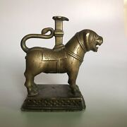 Early 18th C Brass Hindu Traditional Statue Of Lion An Antique Mugal Figurine.