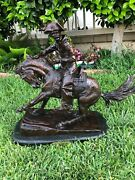 Frederick Remington Bronze Figure Of The Cowboy Signed With Marble Base