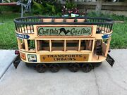 Vintage Large Wooden /metal Double Deck Tramp With Cast Iron Wheels