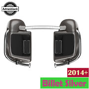 Advanblack Billet Silver Lower Vented Fairing 6.5and039and039 Speaker Pod For Harley 2014+