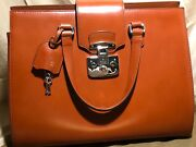 New Lady Lock Hand Bag Brown Leather Vintage Italy Authentic Retail 2550