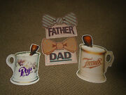 Vtg 1984 Hallmark Die Cut Decorations-4-shaving Mugs-bow Ties Father's Day