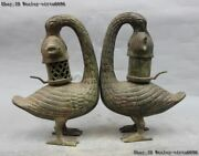 13 Chinese Royal Bronze Copper Two Duck Catch Fish Palace Lantern Candleholder