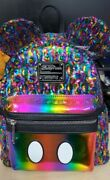 Disney Loungefly Mickey Rainbow Sequin Mini Backpack -new With Tags - Rare