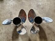 Pair Of 15 1/2 X 23p Evinrude Johnson Rx3 Ss Propellers Tbx P5282 P5283