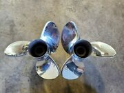 Pair Of 14 1/2 X 17p Evinrude Johnson Rx3 Ss Propellers, V4 Tbx, P5296 P5297