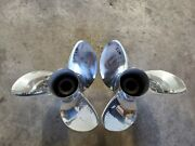 Pair Of 14 1/2 X 17p Evinrude Johnson Rx3 Ss Propellers V4 Tbx P5298 P5299
