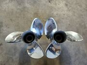 Pair Of 14 1/2 X 17p Evinrude Johnson Rx3 Ss Propellers, V4 Tbx, P5298 P5299
