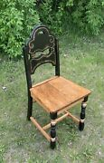 @1885 Custom Chic Oak And Black Distressed Antique Chair Side Chair Dining Chair